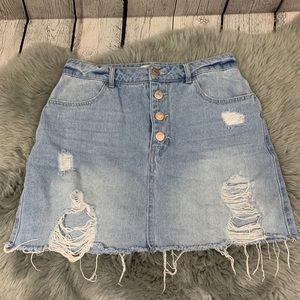 Forever 21 Light Wash Distressed Denim Mini Skirt